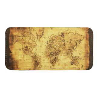 Mapa de Viejo Mundo rústico del oro Funda Acolchada Para iPhone