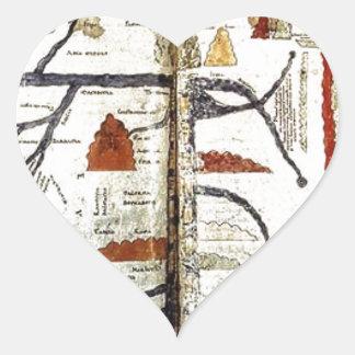 Mapa de Viejo Mundo, siglo XII Pegatina En Forma De Corazón
