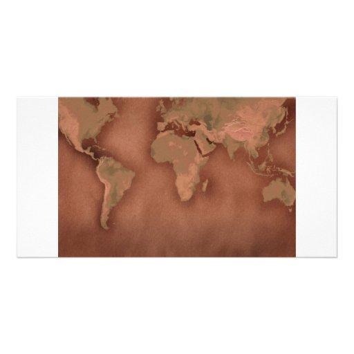mapa de Viejo Mundo Tarjetas Personales Con Fotos