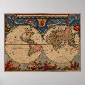 Mapa de Viejo Mundo vibrante del vintage de los Póster