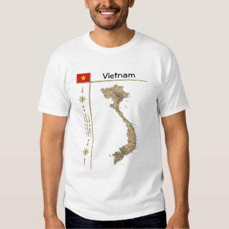 Mapa de Vietnam + Bandera + Camiseta del título Remeras