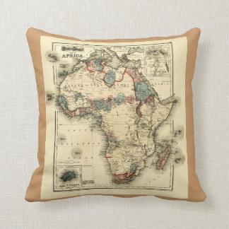 Mapa de Viintage 1874 de la impresión africana ant Almohadas