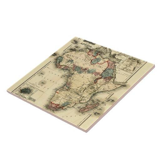 Mapa de Viintage 1874 de la impresión africana ant Azulejo Cuadrado Grande
