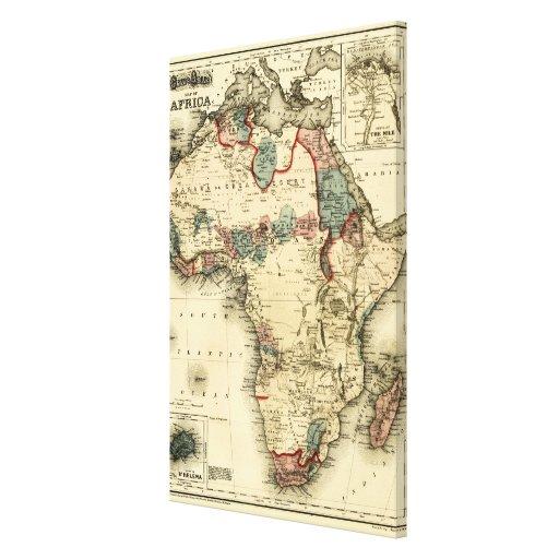 Mapa de Viintage 1874 de la impresión africana ant Impresiones En Lienzo Estiradas