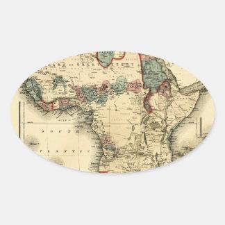 Mapa de Viintage 1874 de la impresión africana ant Calcomanía De Óval