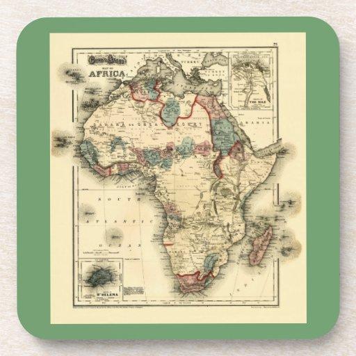 Mapa de Viintage 1874 de la impresión africana ant Posavasos De Bebida