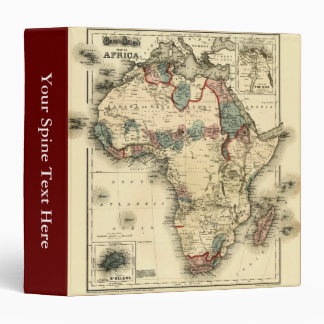 """Mapa de Viintage 1874 de la impresión africana Carpeta 1 1/2"""""""