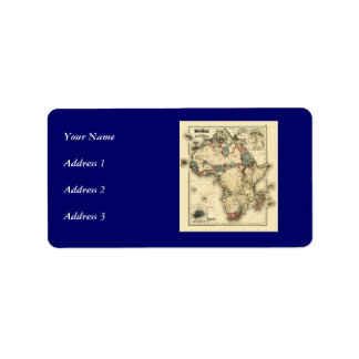 Mapa de Viintage 1874 de la impresión africana Etiquetas De Dirección