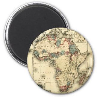 Mapa de Viintage 1874 de la impresión africana Imán Redondo 5 Cm