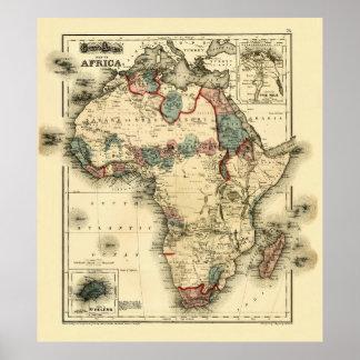 Mapa de Viintage 1874 de la impresión africana Póster
