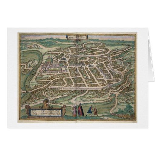 Mapa de Vilna, Lituania, de 'Civitates Orbis T Tarjetas