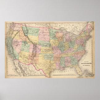 Mapa de Vinage de los Estados Unidos (1873) Póster