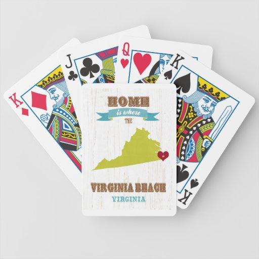Mapa de Virginia Beach, Virginia - casero es donde Baraja Cartas De Poker