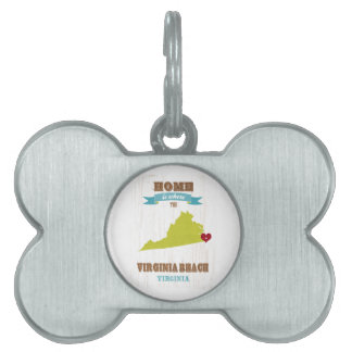 Mapa de Virginia Beach, Virginia - casero es donde Placas De Nombre De Mascota