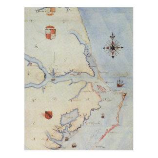 Mapa de Virginia de Raleigh Tarjetas Postales