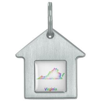 Mapa de Virginia del arco iris Placas Mascota