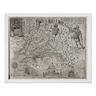 Mapa de Virginia, descubierto y descrito por Capta Póster