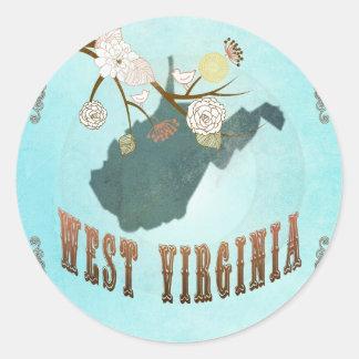 Mapa de Virginia Occidental con los pájaros Pegatina Redonda