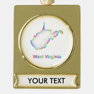 Mapa de Virginia Occidental del arco iris Rótulos De Adorno Dorado