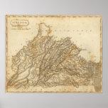Mapa de Virginia por Arrowsmith Póster