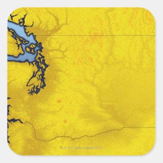 Mapa de Washington 2 Pegatina Cuadradas Personalizada