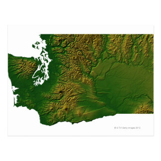 Mapa de Washington 3 Tarjeta Postal