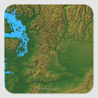 Mapa de Washington Calcomanía Cuadradas