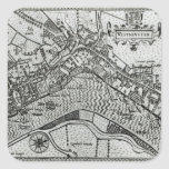 Mapa de Westminster del 'espéculo Britannia Calcomania Cuadradas