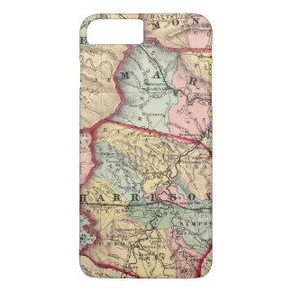 Mapa de Wetzel, Monongalia, Marion, Doddridge Funda iPhone 7 Plus