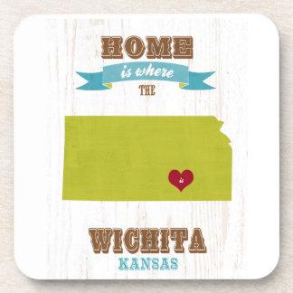Mapa de Wichita, Kansas - casero es donde está el  Posavasos De Bebida