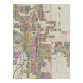 Mapa de Wichita, Kansas Tarjetas Postales
