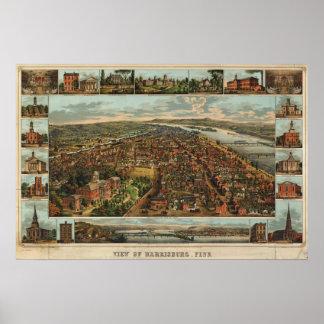 Mapa de Williams de Harrisburg, 1855) reimpresione Poster