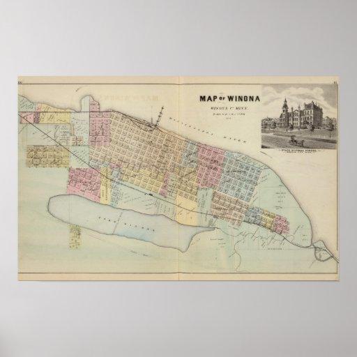 Mapa de Winona, Minnesota Posters