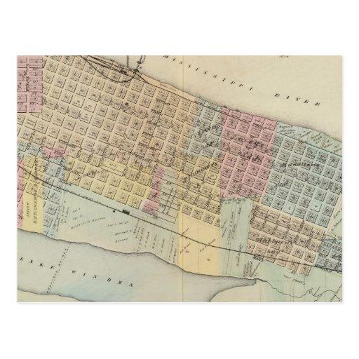 Mapa de Winona, Minnesota Tarjetas Postales