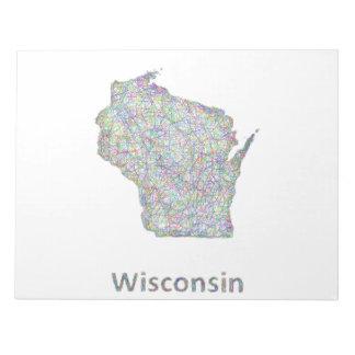 Mapa de Wisconsin Bloc De Notas