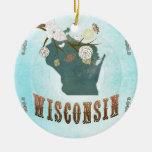 Mapa de Wisconsin con los pájaros preciosos Ornamento De Reyes Magos