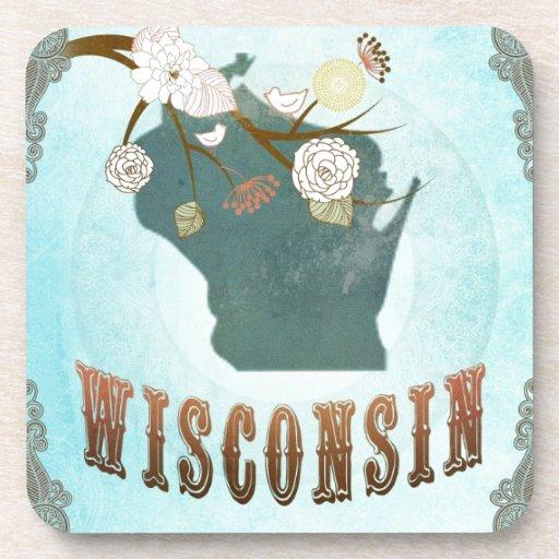 Mapa de Wisconsin con los pájaros preciosos Posavasos De Bebidas