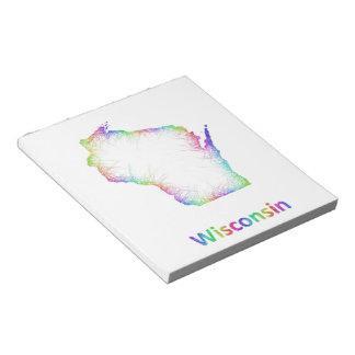 Mapa de Wisconsin del arco iris Bloc De Notas