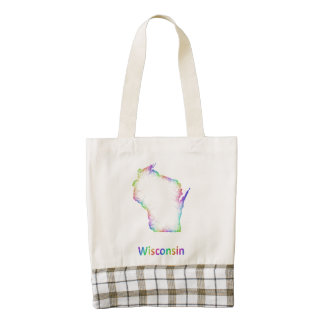 Mapa de Wisconsin del arco iris Bolsa Tote Zazzle HEART