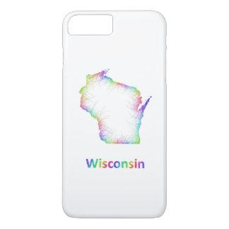 Mapa de Wisconsin del arco iris Funda iPhone 7 Plus