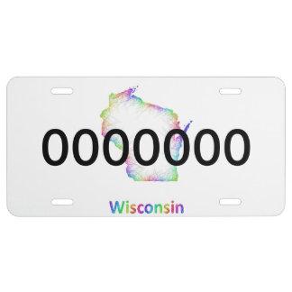 Mapa de Wisconsin del arco iris Placa De Matrícula