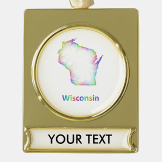 Mapa de Wisconsin del arco iris Rótulos De Adorno Dorado