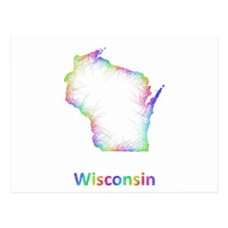 Mapa de Wisconsin del arco iris Tarjeta Postal