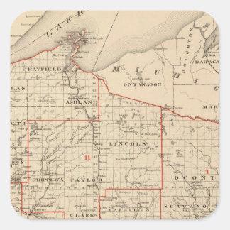 Mapa de Wisconsin que muestra distritos Pegatina Cuadrada