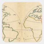 Mapa de Worlp con 5 zonas Pegatina Cuadrada