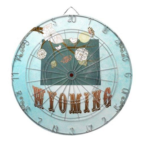 Mapa de Wyoming con los pájaros preciosos Tabla Dardos