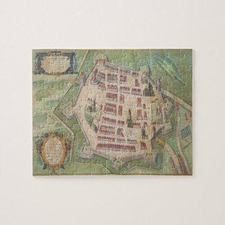 """Mapa de Zamosc, de """"Civitates Orbis Terrarum"""" cerc Puzzle"""