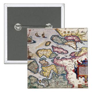 Mapa de Zelanda, c.1560 Pin Cuadrada 5 Cm