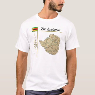 Mapa de Zimbabwe + Bandera + Camiseta del título