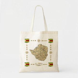 Mapa de Zimbabwe + Bolso de las banderas